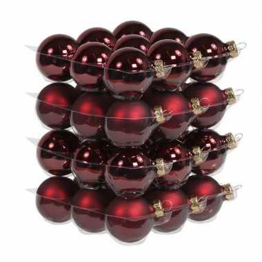 36x donkerrode kerstballen 4 cm glas kerstversiering