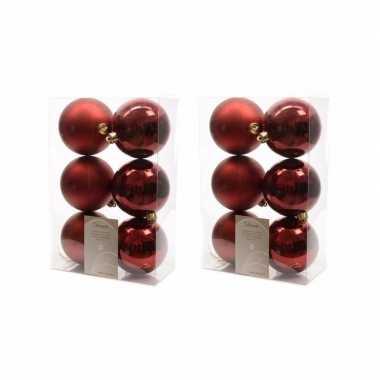36x donkerrode kerstballen 8 cm glanzende/matte kunststof/plastic kerstversiering