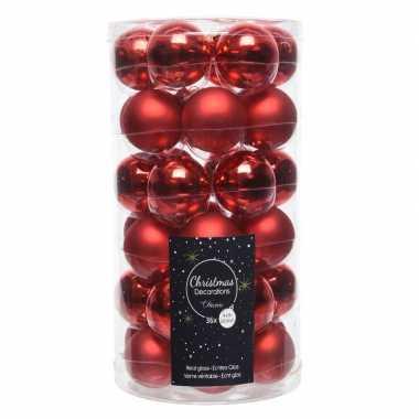 36x kerst rode kleine glazen kerstballen 4 cm mat en glans