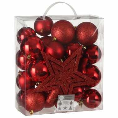 39x kunststof kerstballen 8 cm met ster piek rood