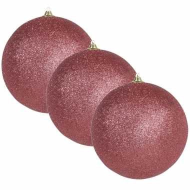 3x grote koraal rode kerstballen met glitter kunststof 13,5 cm