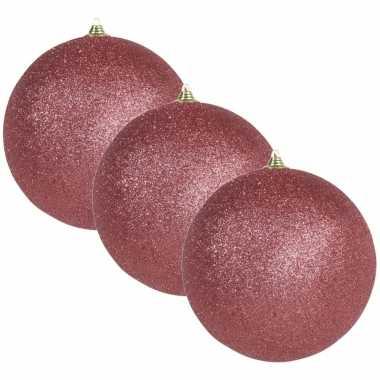 3x grote koraal rode kerstballen met glitter kunststof 18 cm