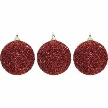 3x kerst rode kerstballen 8 cm glitters/kraaltjes kunststof kerstversiering