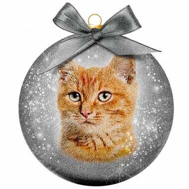 3x kunststof dieren kerstballen met rode kat/poes 8 cm