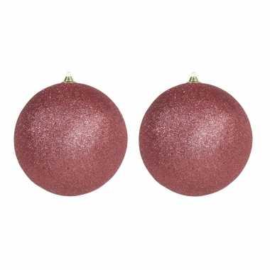 3x mega koraal rode kerstballen met glitter kunststof 25 cm