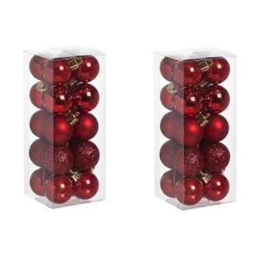 40x kleine rode kerstballen 3 cm kunststof mat/glans/glitter