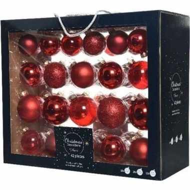 42x kerst rode kerstballen 5-6-7 cm glanzende/matte glas kerstversier