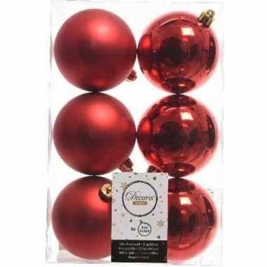 42x kerst rode kerstballen 8 cm glanzende/matte kunststof/plastic kerstversiering
