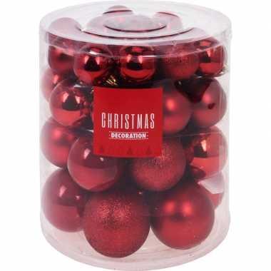 44x rode kerstballen 5-6-7-8 cm matte/glanzende/glitters kunststof ke