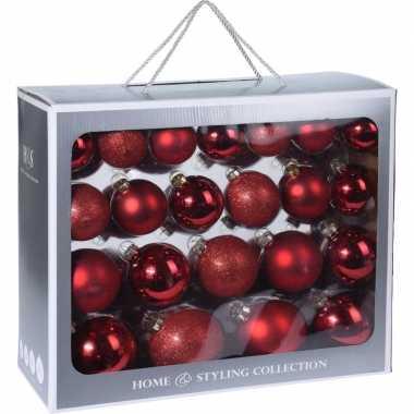 44x rode kerstballen 6-7-8-10 cm matte/glanzende glas kerstversiering