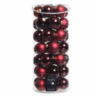 49x donkerrode glazen kerstballen 6 cm glans en mat