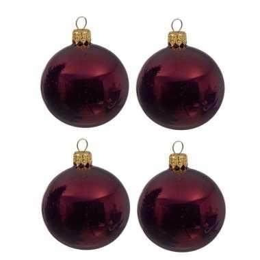 4x donkerrode kerstballen 10 cm glanzende glas kerstversiering