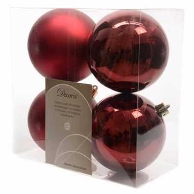 4x donkerrode kerstballen 10 cm glanzende/matte kunststof/plastic ker