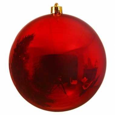 4x grote kerst rode kerstballen van 14 cm glans van kunststof