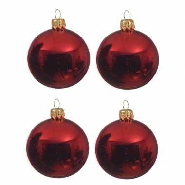 4x kerst rode kerstballen 10 cm glanzende glas kerstversiering