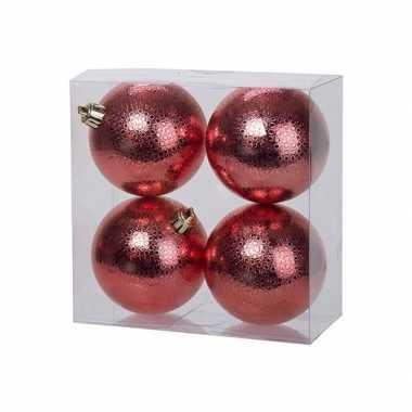 4x rode kerstballen 8 cm cirkel motief kunststof/plastic kerstversier