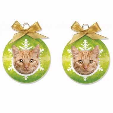 4x stuks huisdieren/dieren kerstballen kat/poes rood tabby 8 cm