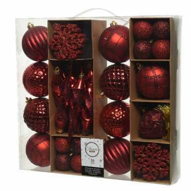 50x rode kerstballen 4-8-15 cm glanzende/glitter kunststof/plastic kerstversiering
