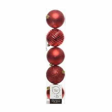 5x kerst kerst rode kerstballen 8 cm glanzende/matte/glitter kunststo