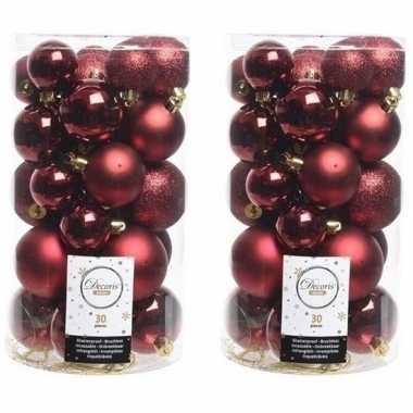 60x donkerrode kerstballen 4-5-6 cm glanzende/matte/glitter kunststof/plastic kerstversiering