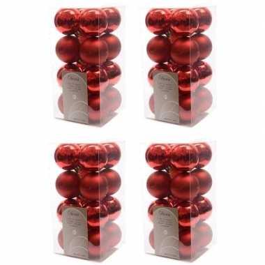 64x kerst rode kerstballen 4 cm glanzende/matte kunststof/plastic kerstversiering