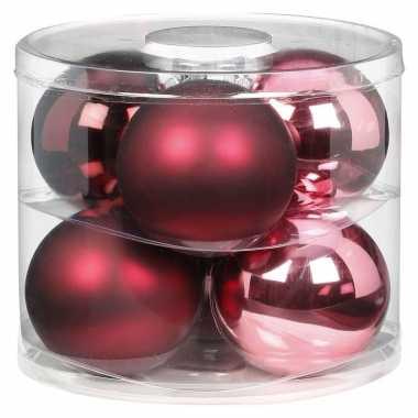 6x berry kiss mix roze/rode glazen kerstballen 10 cm glans en mat
