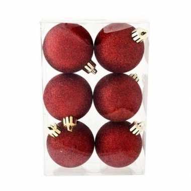 6x donkerrode kerstballen 6 cm glitter kunststof/plastic kerstversier