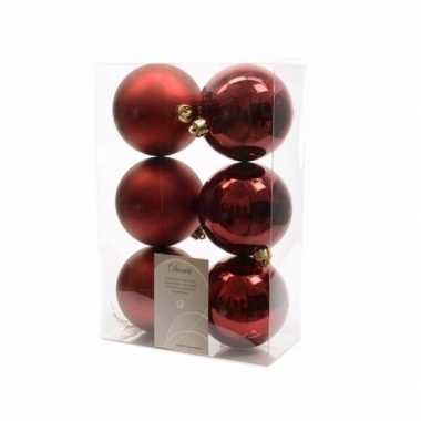 6x donkerrode kerstballen 8 cm glanzende/matte kunststof/plastic kers