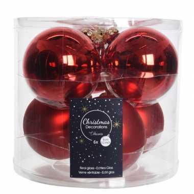 6x kerst rode glazen kerstballen 8 cm glans en mat