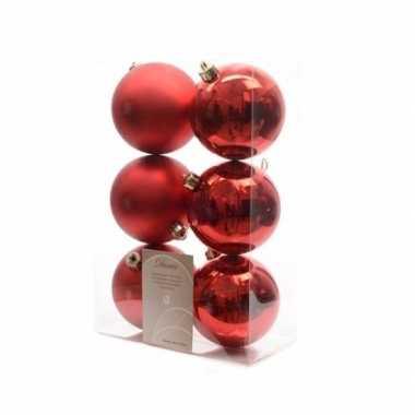 6x kerst rode kerstballen 8 cm glanzende/matte kunststof/plastic kers