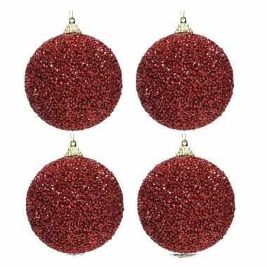 6x kerst rode kerstballen 8 cm glitters/kraaltjes kunststof kerstvers