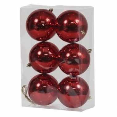 6x rode kerstballen 10 cm glanzende kunststof/plastic kerstversiering