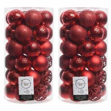 74x kerst rode kerstballen 6 cm glanzende/matte/glitter kunststof/plastic kerstversiering