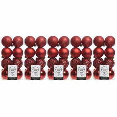 80x kerst rode kerstballen 6 cm glanzende/matte/glitter kunststof/plastic kerstversiering