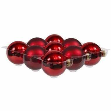 9x rode kerstballen 10 cm glas kerstversiering