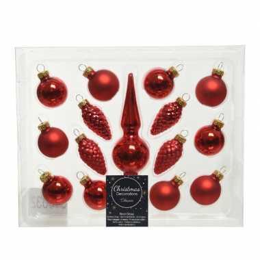 Kerst rode glazen kerstballen en piek set voor mini kerstboom 15-dlg