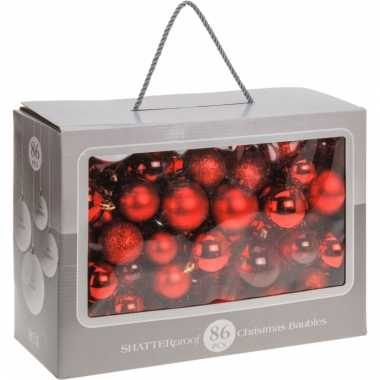 Kerstballen rood diverse formaten