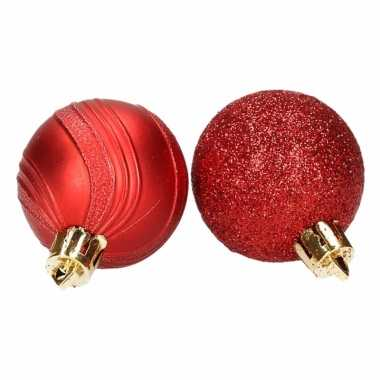 Kerstballenset rood 2 soorten