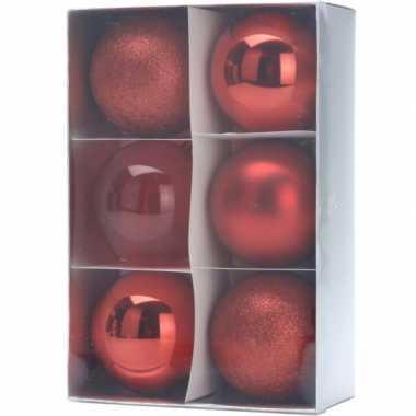 Kerstballenset rood 3 soorten 12 stuks 8 cm