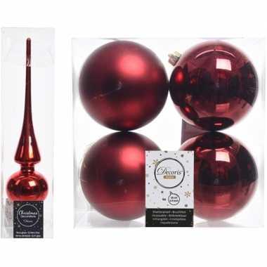 Kerstboom optuigen set rood glazen piek en 4x kunststof ballen 10 cm