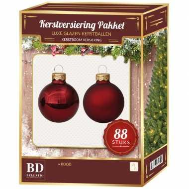Kerstboomversiering kerstballen set rood 88 stuks