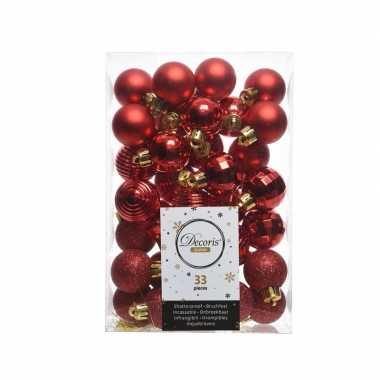 Kerstversiering kerstballen rood 33 stuks