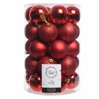 Kerstversiering kerstballen rood 34 stuks