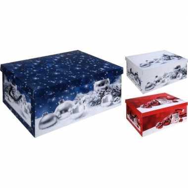 Pakket van 3x stuks kerstballen opbergdoos rood 49 cm