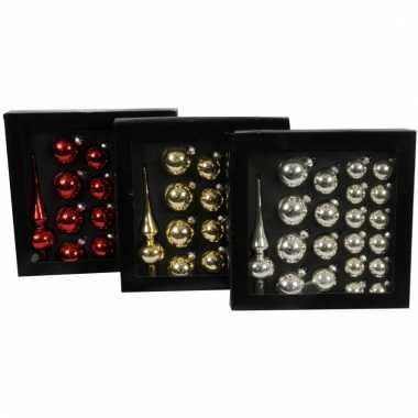 Rode glazen kerstballen 21 stuks