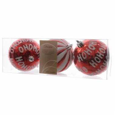 Rode kerstballen hohoho 8 cm