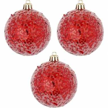 Rode kerstversiering 3x kerstballen rood 8 cm