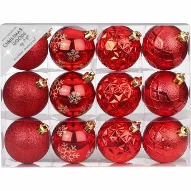 Set van 24x luxe rode kerstballen 6 cm kunststof mat/glans