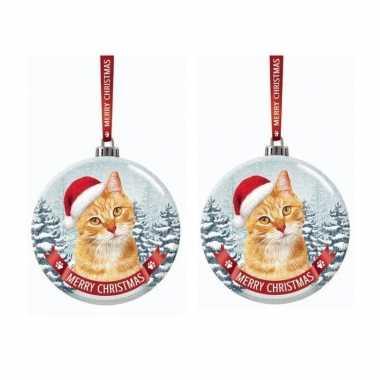 Set van 2x stuks glazen kerstballen rood katje/poesje