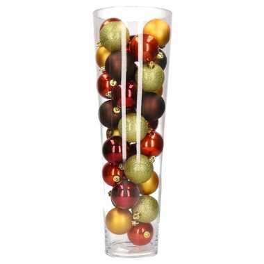 Sfeer vaas met rood bruine kerstballen